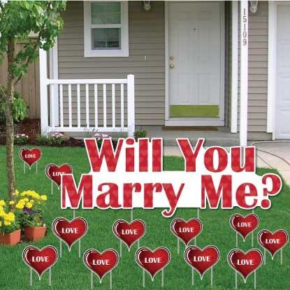 Will You Marry Me with Love Hearts Yard Card - 12 pcs - Free Shipping