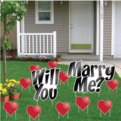 Will You Marry Me with Hearts Yard Card - 12 pcs - FREE SHIPPING