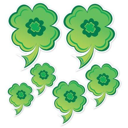 St. Patrick's Day Window Cling - Shamrocks - Set of 6