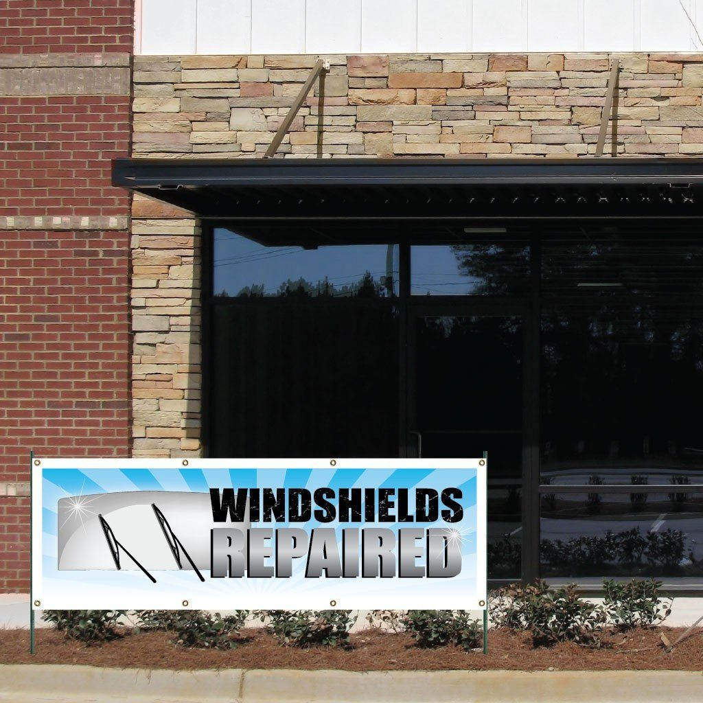Windshields Repaired Vinyl Banner with Grommets