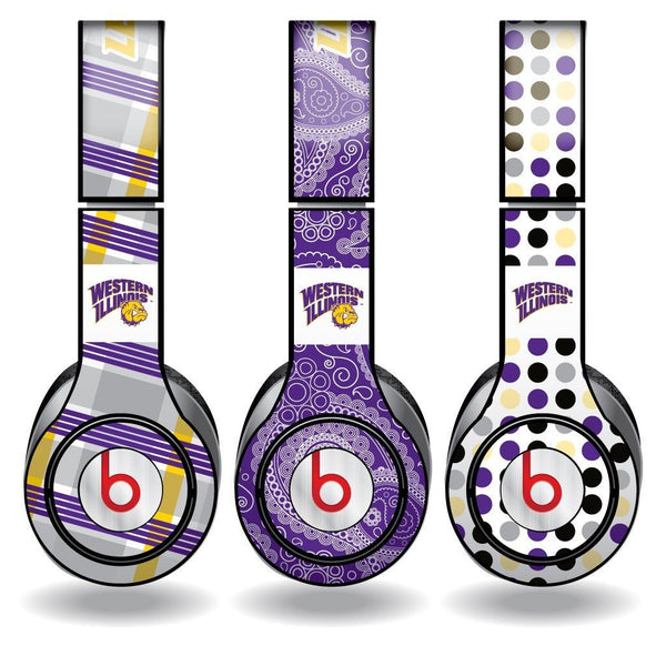 "Western Illinois Skins for Beats Solo HD Headphones "" Set of 3"