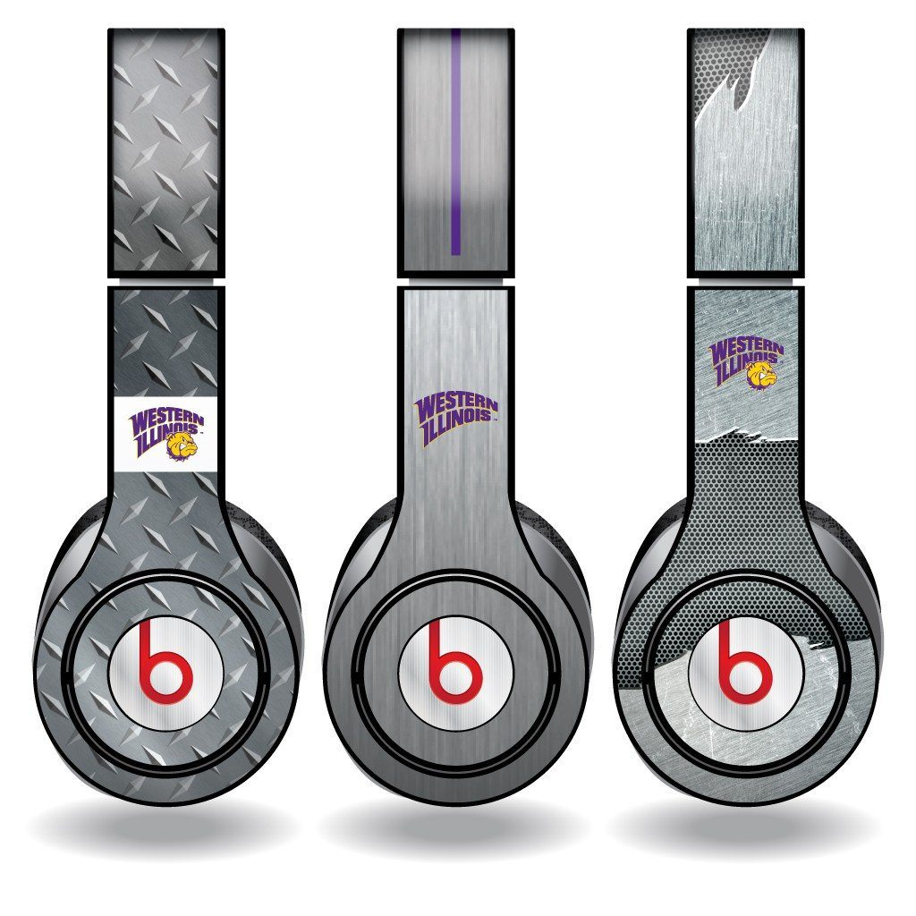 Western Illinois Skins for Beats Solo HD Headphones Set of 3 Metal - FREE SHIPPING
