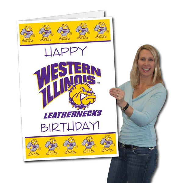 A large Western Illinois University birthday card