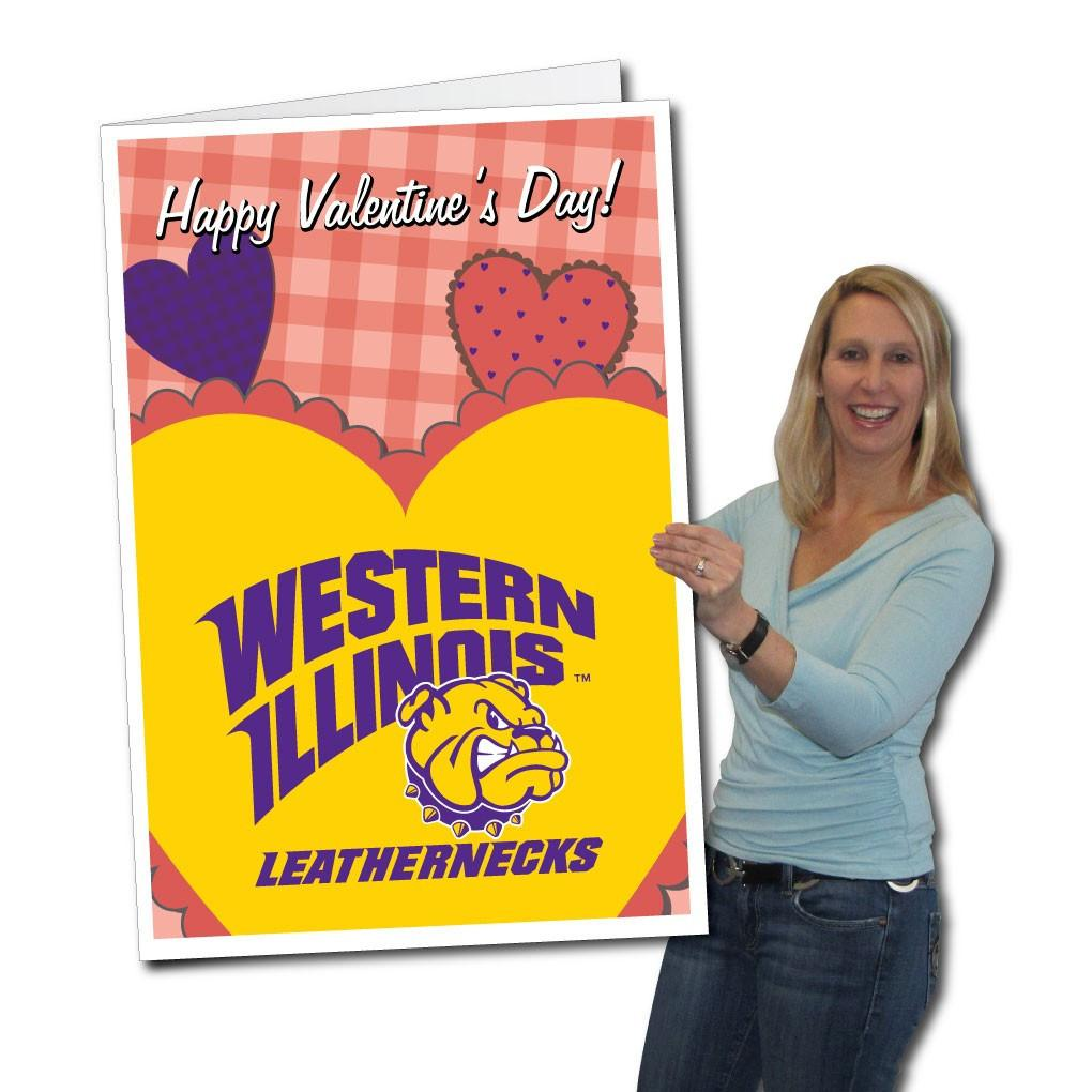 Western Illinois University 2'x3' Huge Valentine's Day Card with bonus Leatherneck Yard Sign! FREE SHIPPING