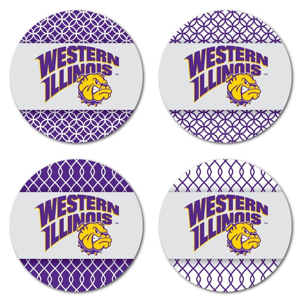 Western Illinois University Patterned Coaster Set of 4 - FREE SHIPPING