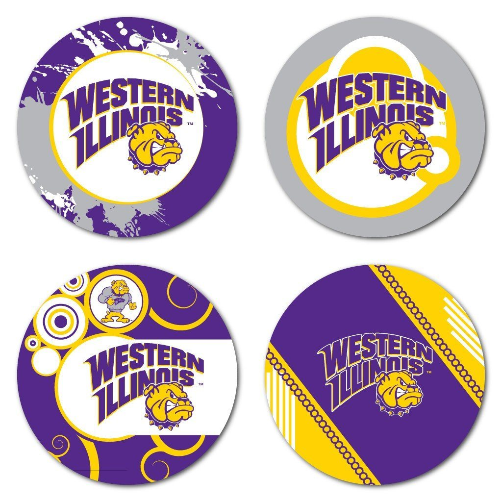 Western Illinois University Fun Designs Coaster Set of 4 - FREE SHIPPING