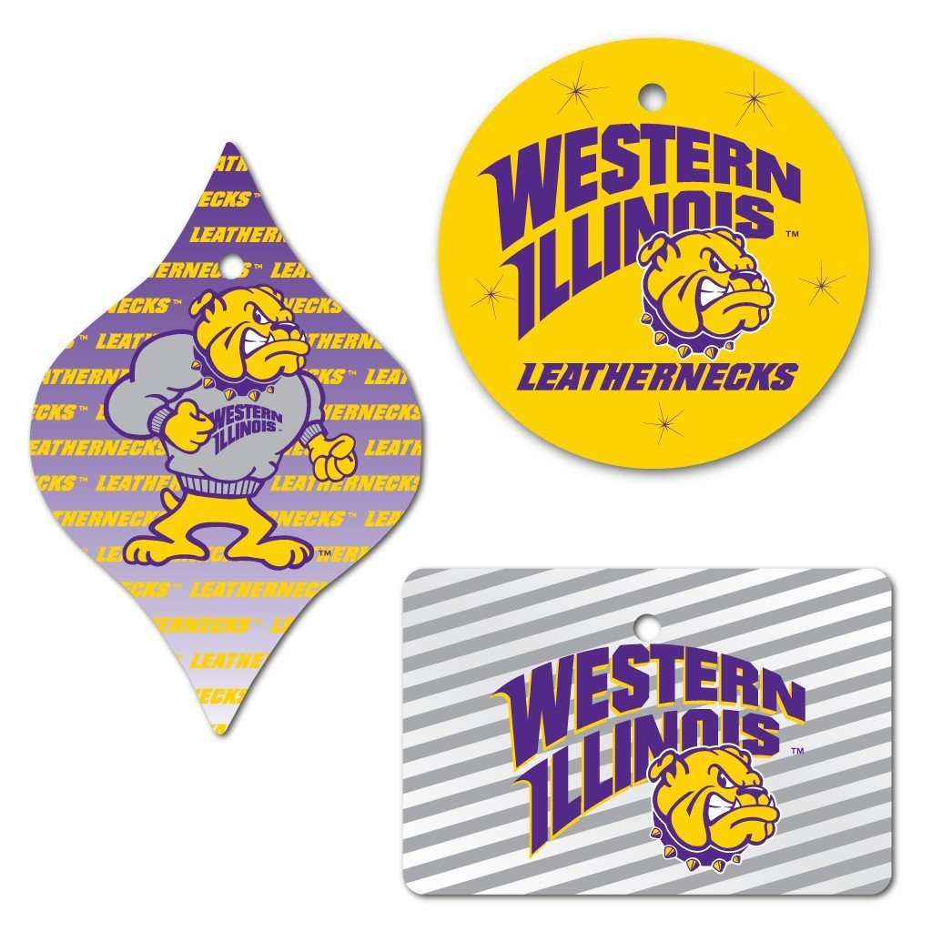 Western Illinois University Ornament Set of 3 Shapes