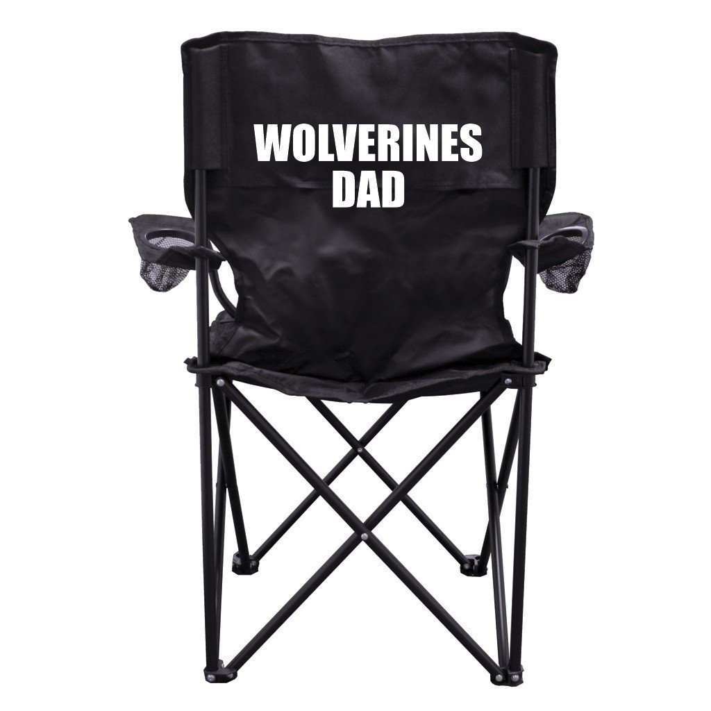 Wolverines Dad Black Folding Camping Chair with Carry Bag