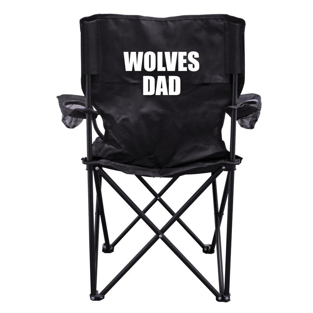 Wolves Dad Black Folding Camping Chair with Carry Bag