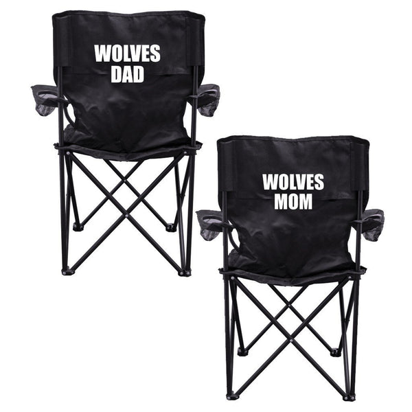 Wolves Parents 2 Black Folding Camping Chair Set of 2 with Carry Bags