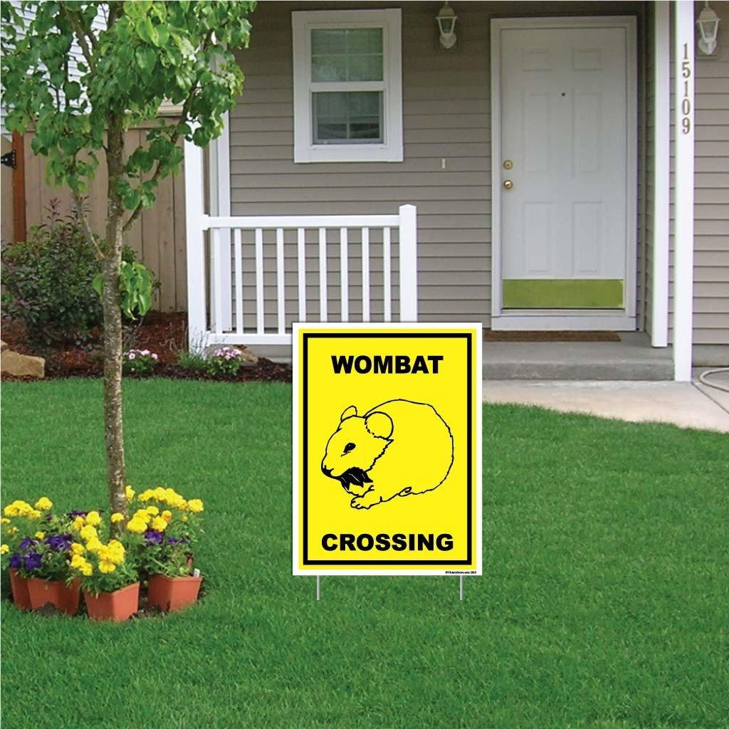 "A yard sign that says ""Wombat Crossing"""
