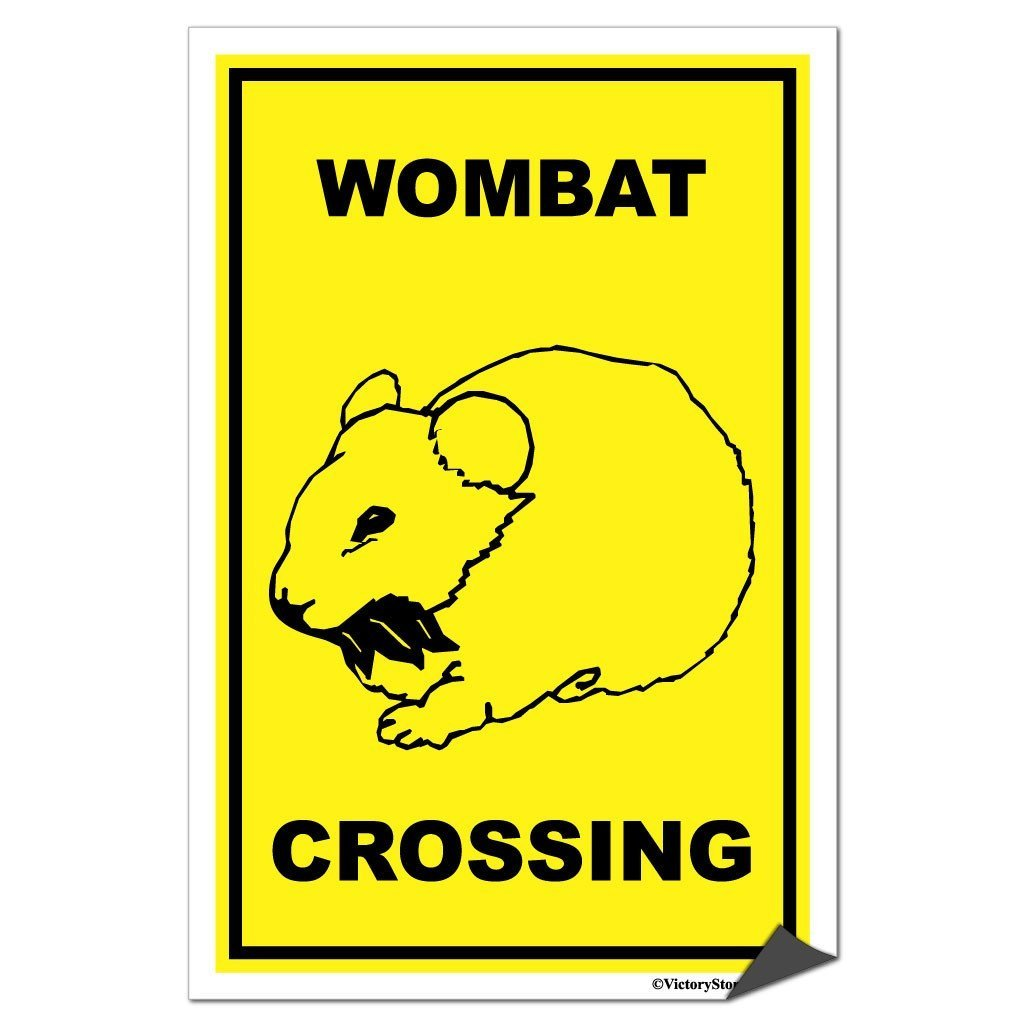 A sticker of a wombat crossing