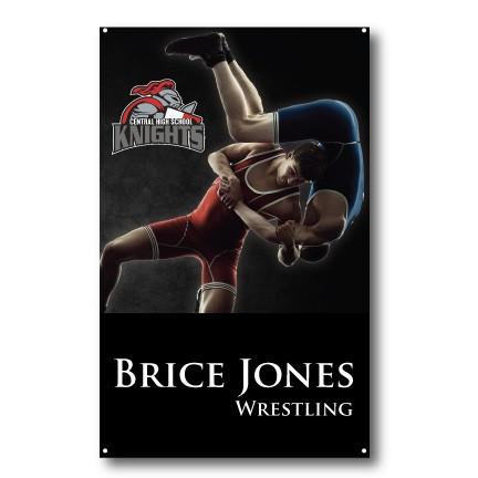 A wrestling themed banner