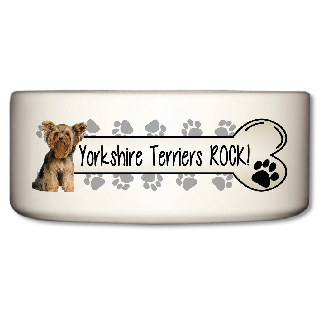 "A Dog Themed Ceramic Bowl that says ""Yorkshire Terriers Rock!"