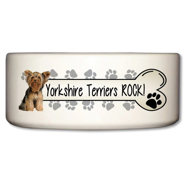 Yorkshire Terriers Rock Ceramic Dog Bowl