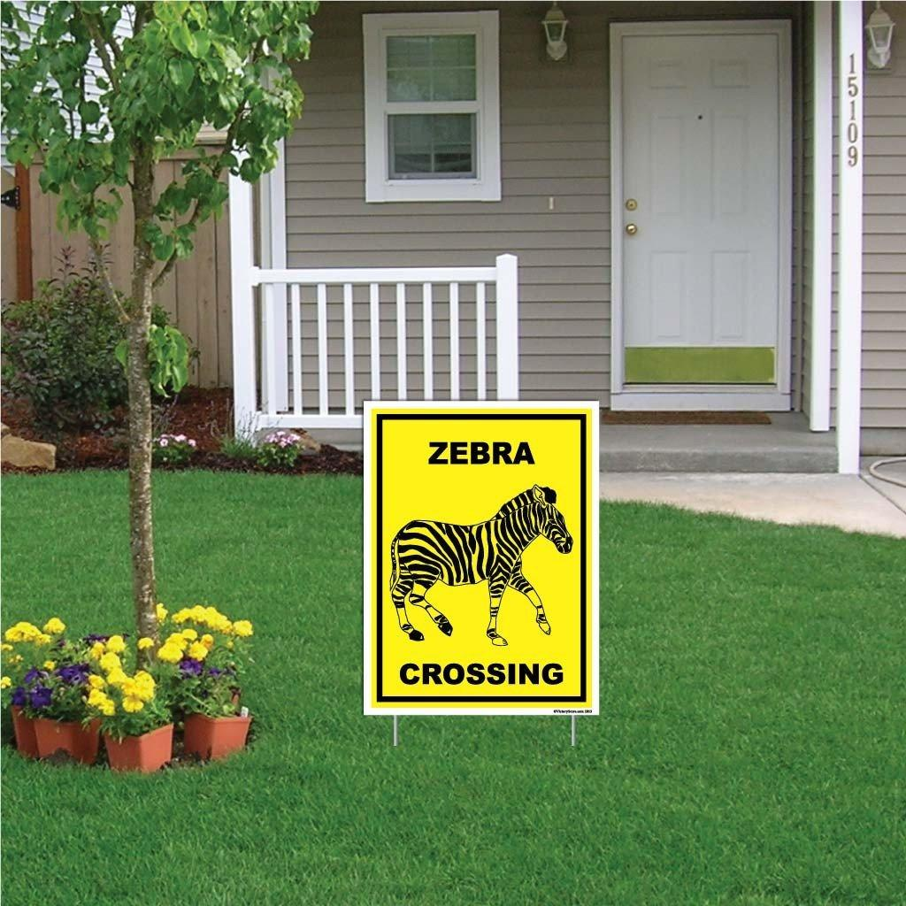 "A yard sign that says ""Zebra Crossing"""