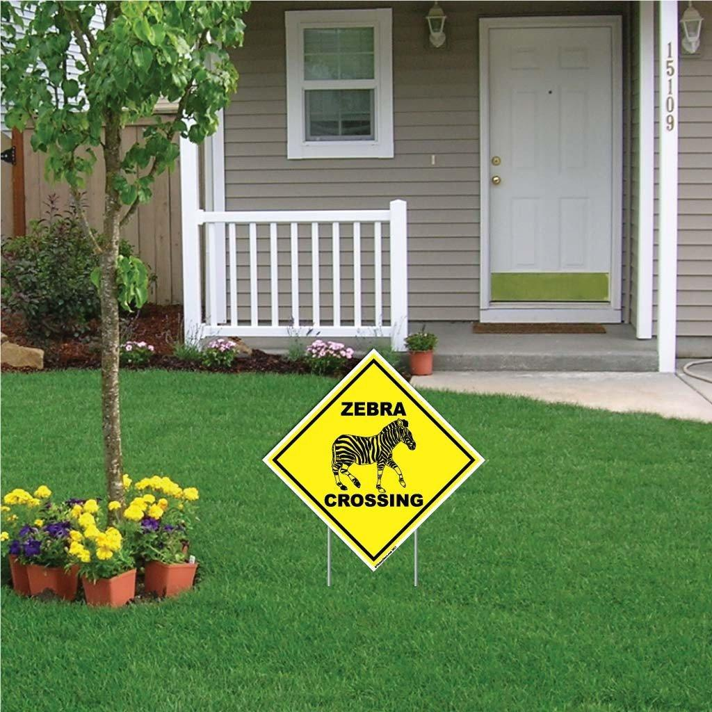 A yard sign that says Zebra Crossing