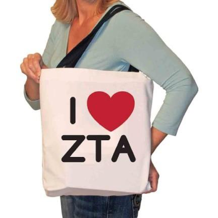 I Love Zeta Tau Alpha Tote Bag