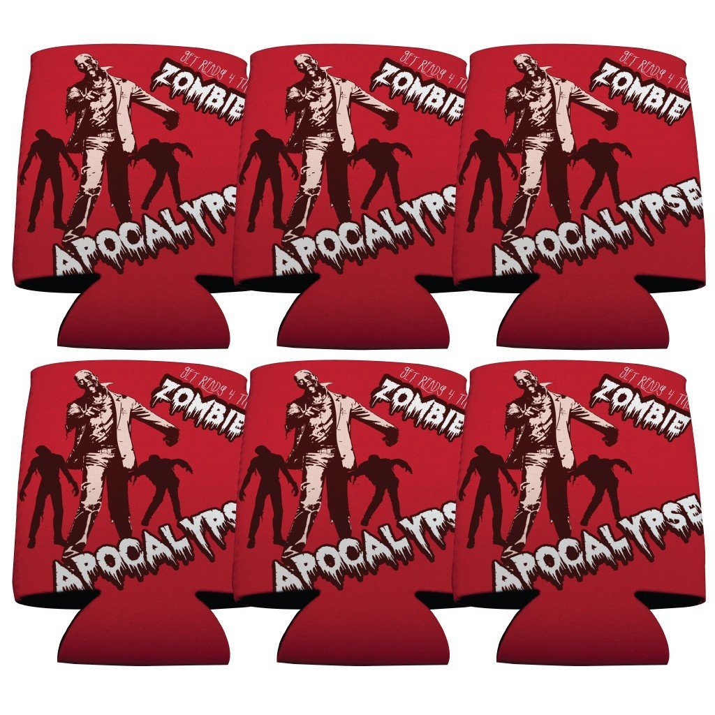 Zombie Apocalypse Halloween Can Cooler Set of 6 - FREE SHIPPING