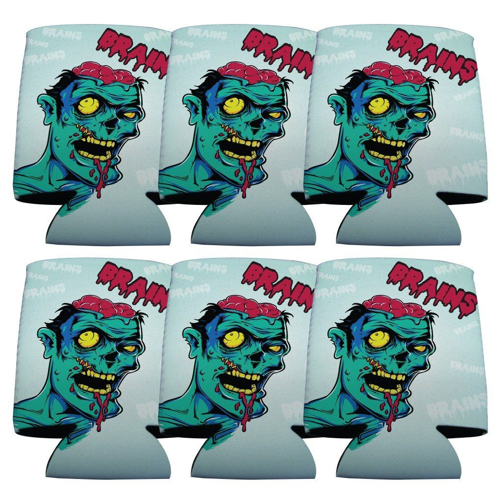 Zombie Brains Halloween Can Cooler Set of 6 - FREE SHIPPING