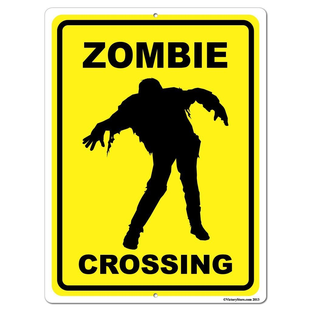A zombie crossing sign