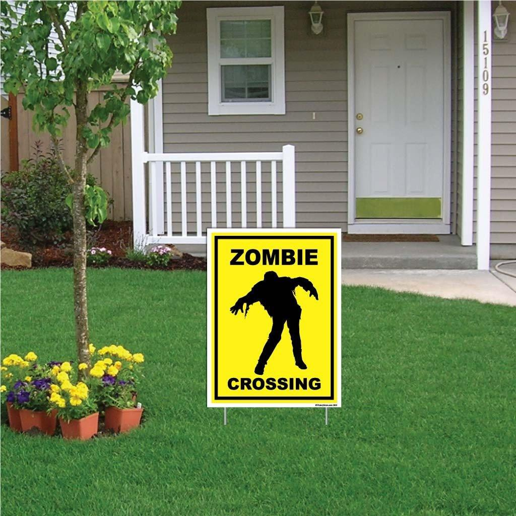 "A yard sign that says ""Zombie Crossing"""