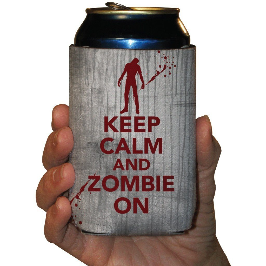 Keep Calm and Zombie On Halloween Can Cooler Set of 6 - FREE SHIPPING