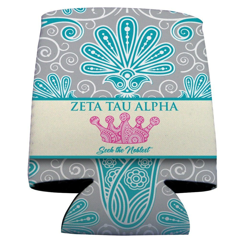 Zeta Tau Alpha Can Cooler Set of 12 - Vintage Flowers Design