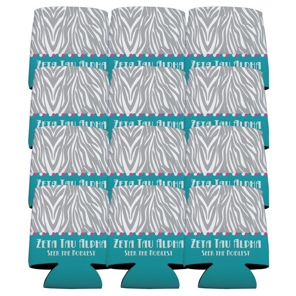 Zeta Tau Alpha Can Cooler Set of 12 - Zebra Print Design