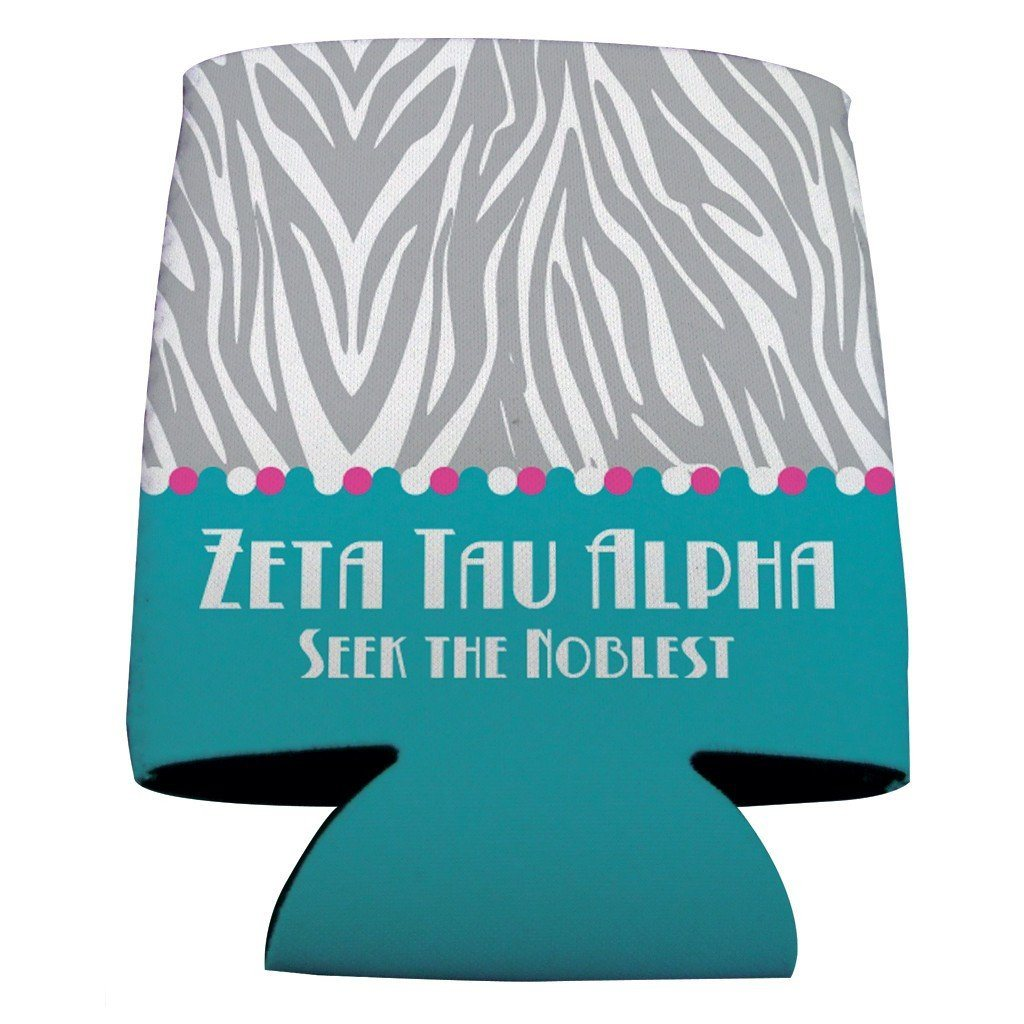 Zeta Tau Alpha Can Cooler Set of 12 - Zebra Print - FREE SHIPPING