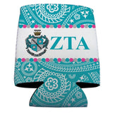 Zeta Tau Alpha Can Cooler Set of 12 - Paisley Print Design