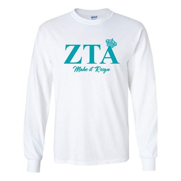 "Zeta Tau Alpha ""Make it Reign"" Long Sleeve T-shirt - White & Sport"