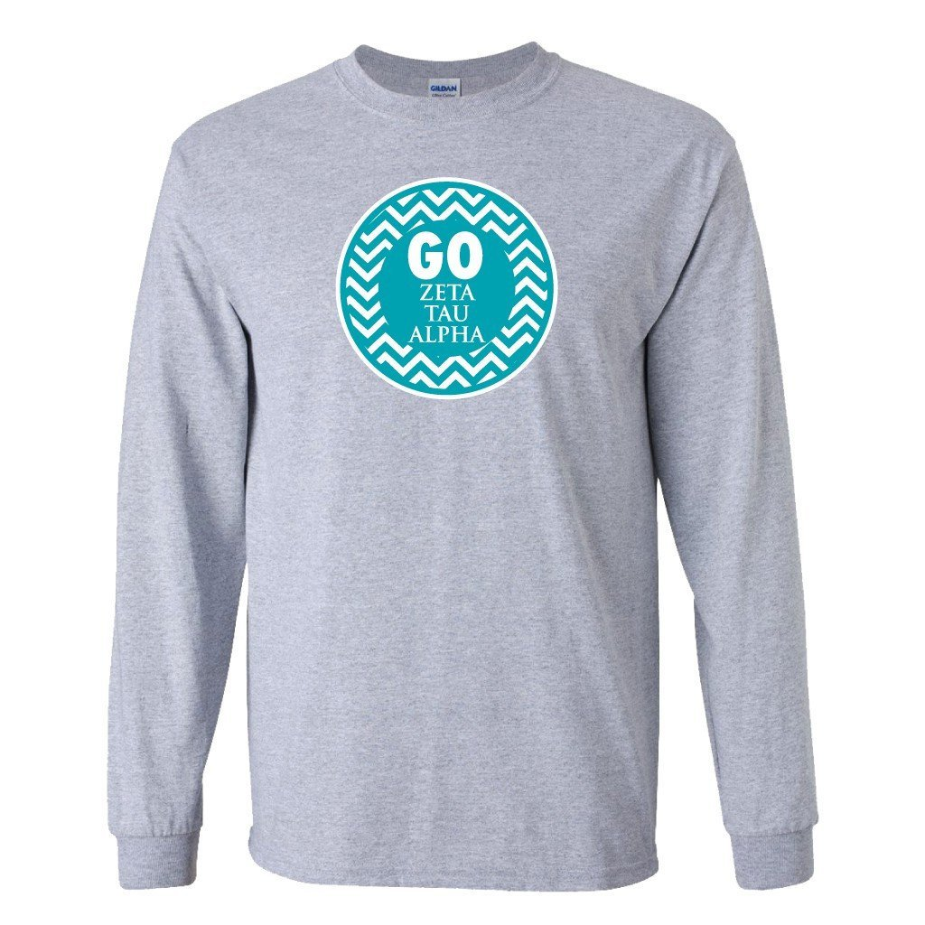 "Zeta Tau Alpha ""Go Zeta Tau Alpha"" Long Sleeve T-shirt - White & Sport Gray"