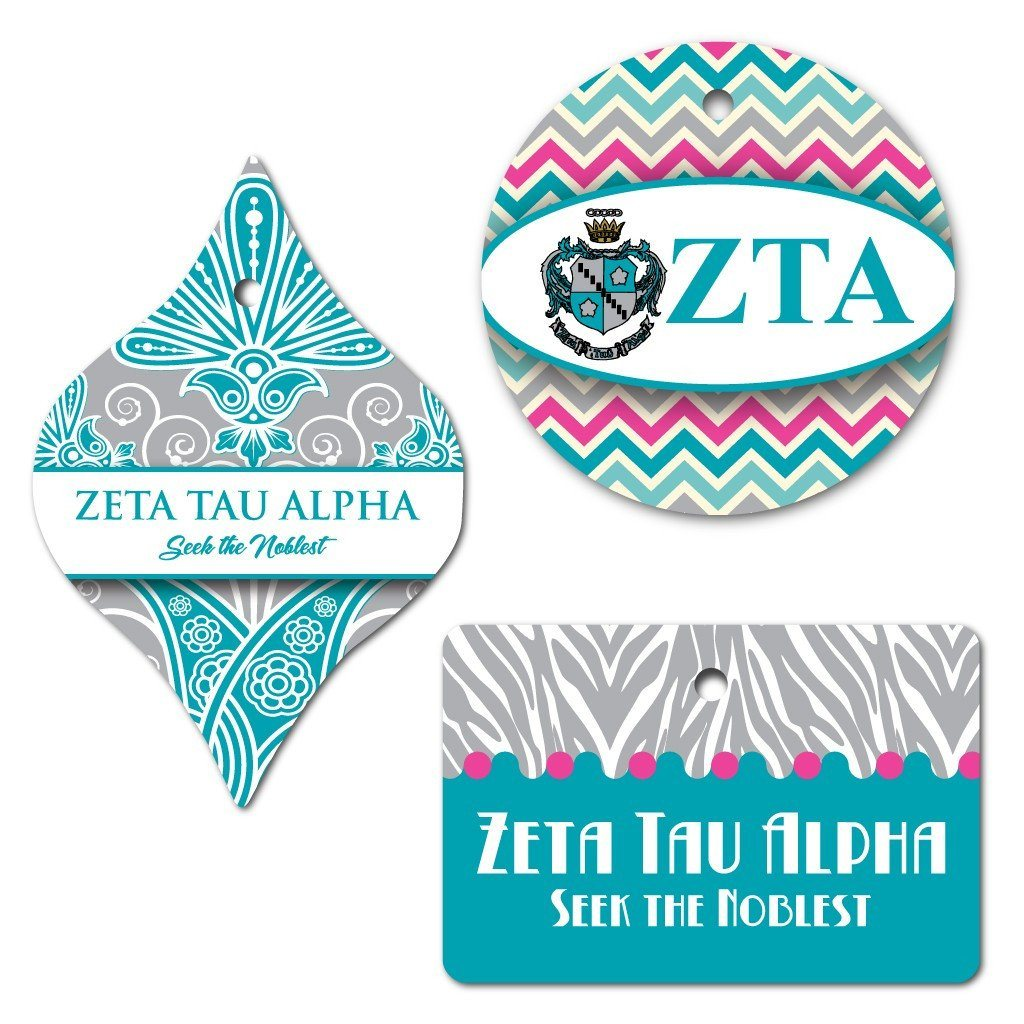 Zeta Tau Alpha Ornament - Set of 3 Shapes - FREE SHIPPING
