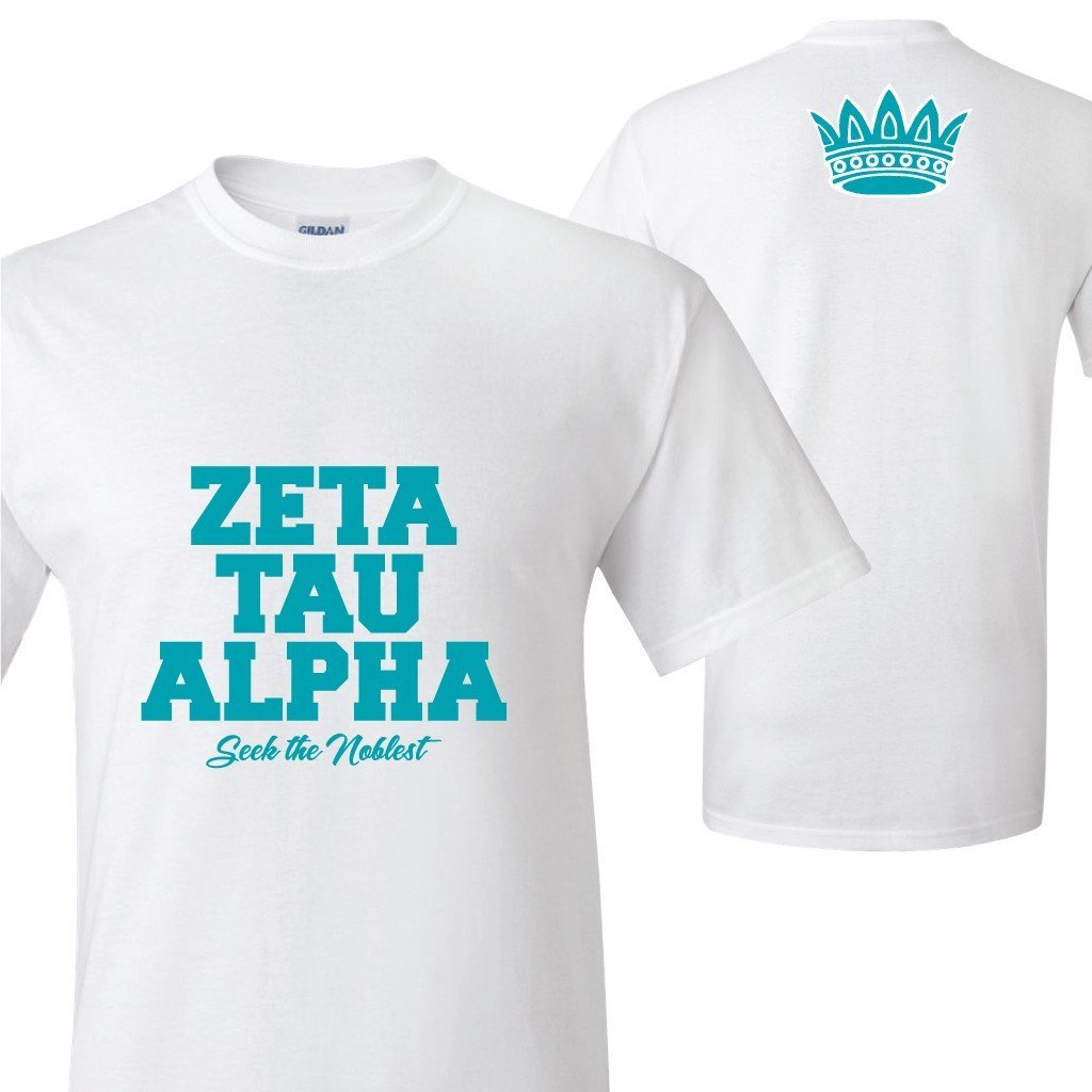 Zeta Tau Alpha Crown on Back Standard T-Shirt - FREE SHIPPING
