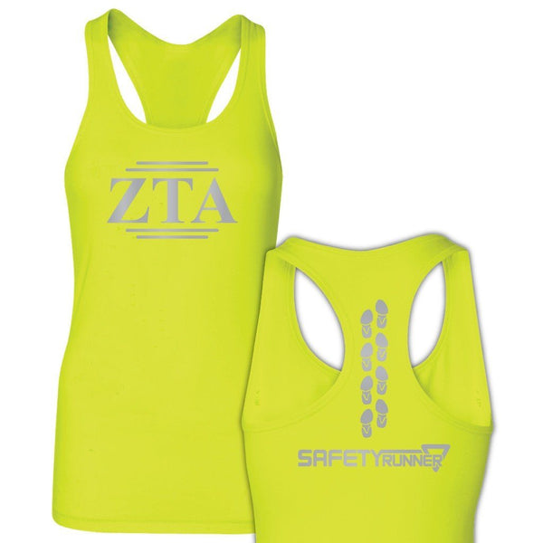 Zeta Tau Alpha Neon Yellow SafetyRunner Ladies Performance Racerback