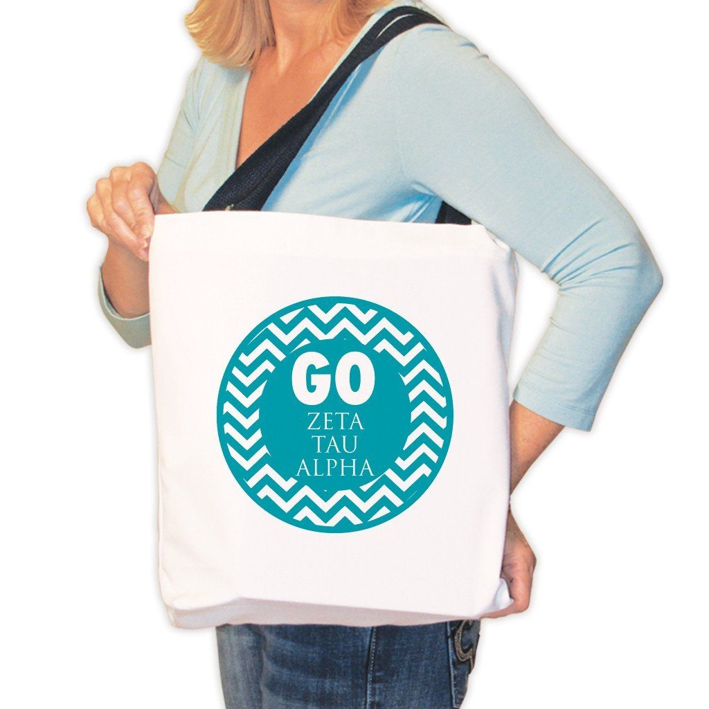 Zeta Tau Alpha Canvas Tote Bag - Chevron Stripes Design