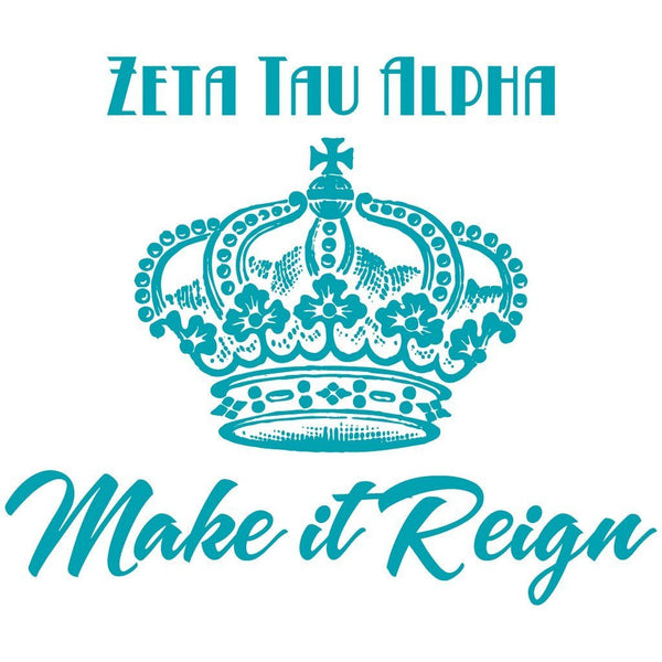 "Zeta Tau Alpha Canvas Tote Bag - ""Make it Reign"" Design"