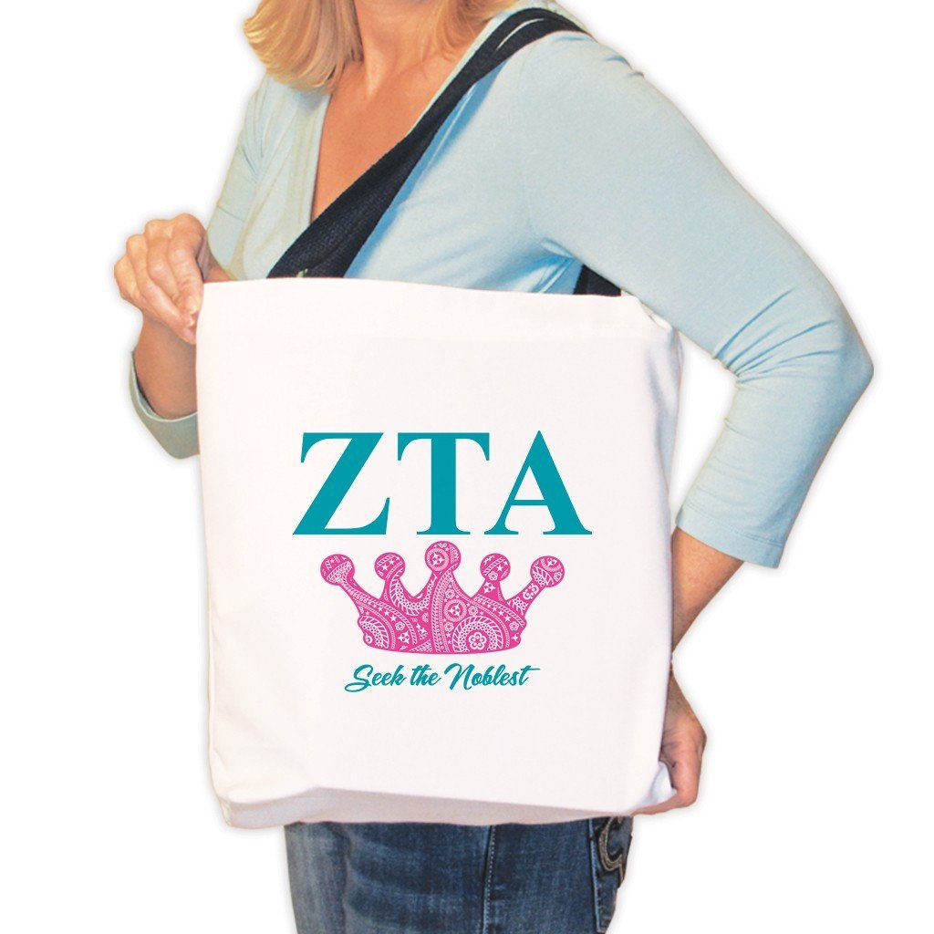 Zeta Tau Alpha Canvas Tote Bag - Pink Crown Design