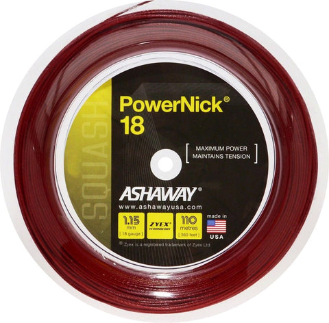 ASHAWAY POWERNICK 18 RED (1.15MM) SQUASH STRING 360'/110M REEL