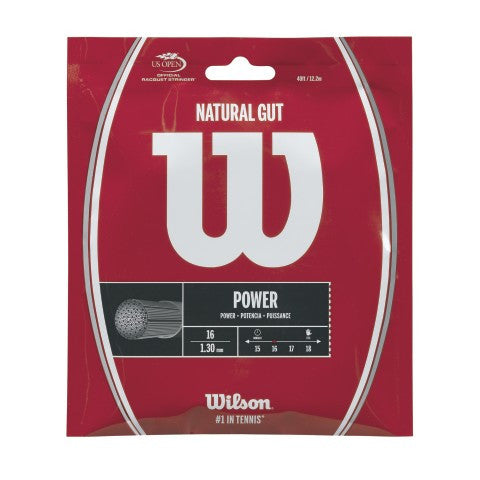 WILSON NATURAL GUT 16 (1.30MM) TENNIS STRING 40'/12.2M (1 SET)