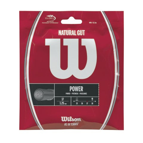 WILSON NATURAL GUT 17 (1.25MM) TENNIS STRING 40'/12.2M (1 SET)