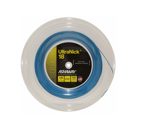 ASHAWAY ULTRANICK 18 BLUE (1.15MM) SQUASH STRING 360'/110M REEL