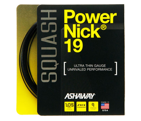 ASHAWAY POWERNICK 19 BLACK (1.05MM) SQUASH STRING 30'/9M (1 SET)