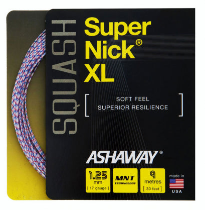 ASHAWAY SUPERNICK XL WHITE WITH BLUE/RED (1.25MM) SQUASH STRING 30'/9M (1 SET)