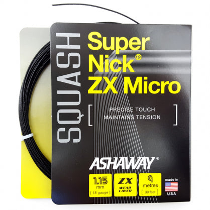 ASHAWAY SUPERNICK ZX MICRO BLACK (1.15MM) SQUASH STRING 30'/9M (1 SET)