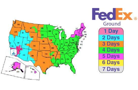 FedEx Shipping Zone Map