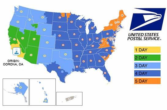 USPS Domestic Shipping Map