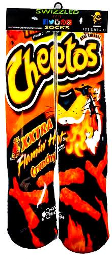Crunchy Xxtra Flamin Hot Cheetos Chips Snack Socks by Swizzled Out Socks with picture image design.