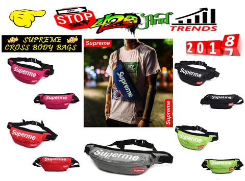 offical Supreme cross body waist chest bags red blue green black grey pink yellow